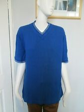 EA Menswear - Blue/White,S/Sleeved V-Neck Ribbed T-Shirt size S - 100% cotton