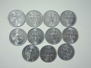 Lote 11 Monedas Alemania Reich 200 Marcos 1923 D Sin Circular