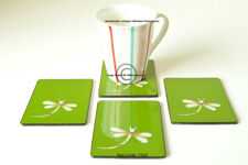 4 Handmade Coasters, Lacquered & Inlaid Rectangular Wooden Cork, Green C022