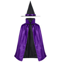Kid Girl Children Witches Hat Vampire Cape Cloak Party Fancy Halloween Costume