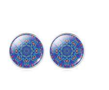 Blue  Mandala Flower Earrings &  Necklace Set