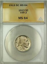1913 Variety 2 Buffalo Nickel 5c ANACS MS-64 (Better Coin)