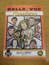 21/04/1984 Speedway Programme: Belle Vue v Newcastle [League Cup] (results table