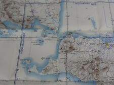 ORIGINAL WW2 FABRIC SILK MAP ANAK KRAKATAU VOLCANO SUNDA STRAIT JAVA SUMATRA