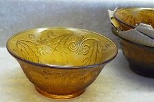 Crystal Glass Amber Tiara Flared Bowls-3   #108