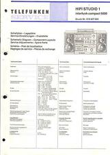 Telefunken Service Manual für HiFi Studio 1 baugleich Interfunk compact 9000