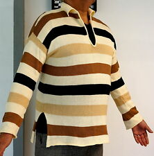 KRIZIA UOMO Collar/V-Neck Striped 100% COTTON Sweater Pullover ITALY 50/L Men's