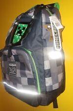 "JINX Minecraft 17"" Backpack Creeper Laptop Sleeve REFLECTOR School bag Grey Kids"