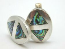 STERLING SILVER FRA TAXCO 925 ABALONE SHELL CUFF LINKS
