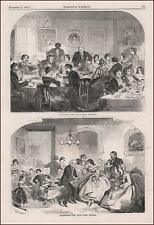 WINSLOW HOMER, THANKSGIVING DINNER & DANCE, antique engraving original 1858