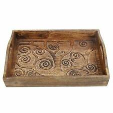 Wooden Tray with Handle and Hand Carved with Tree of Life Design