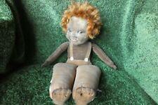 Norah Wellings doll, brown velvet, red hair & glass eyes. Good vintage condition