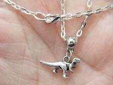 "1 DINOSAUR Necklace Tibet Silver T-Rex Charm Tyrannosaurus Choker 18"" Chain NEW!"