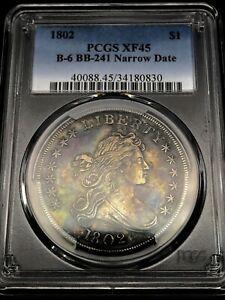 1802 $1 Draped Bust Dollar PCGS XF45  Toned Rare US Coin B-6 BB-241 Narrow Date