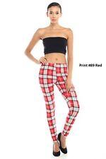 New Womens Plaid Design Legging Workout Yoga Pants