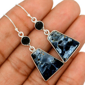 Pietersite - Namibia & Black Onyx 925 Sterling Silver Earring Jewelry BE57657