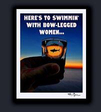 "Signed JAWS Shotglass Print ""Bowlegged Women"" Great White Shark Art by Tom Ryan"