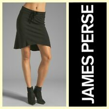 James Perse $135 WDP5774 seamed black cotton sporty drawstring skirt~1/S