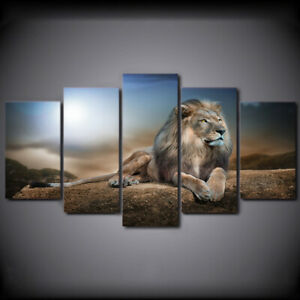 5 Panels Lion Unframed Canvas Art Oil Painting Picture Wall Hanging Room Decor