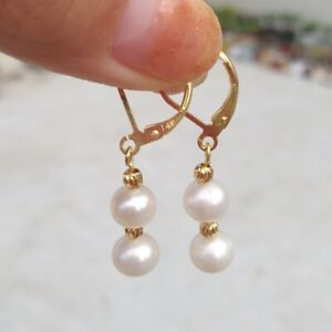 AAA 7-8mm SOUTH SEA ROUND WHITE PEARL DANGLE EARRING 14K YELLOW GOLD