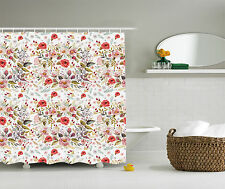 Floral Decor Collection Polyester Fabric Shower Curtain Set with Hooks