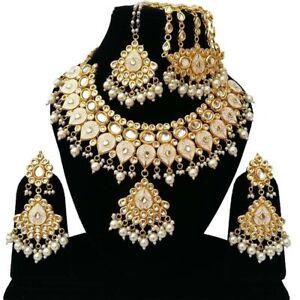 Indian Kundan Ethnic Gold Plated Handmade Jewelry Necklace Earrings Tikka Passa