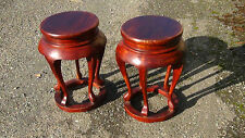 Pair Antique Chinese Rosewood Carved 5 Legs Drum Stools, Barrell End Tables