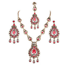 Gorgeous Indian Desi Bridal Ruby Jewelry Maang Tikka Headpiece 3 Pc Jewelry Sets