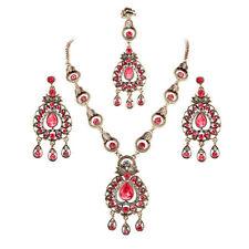 Gorgeous Indian Desi Bridal Ruby Jewelry Maang Tikka Headpiece 3 Pc Jewelry Sets