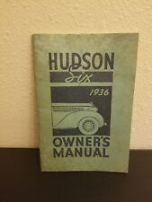 RARE Hudson Six 6 Owner's Manual 1936 Vintage