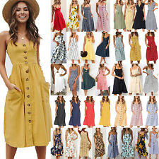 Women Ladies Strappy Midi Dress Summer Holiday Beach Party Button Swing Sundress