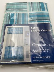 Teal & Steel Blue  Fabric Shower Curtain Checkered and White Solid SQUARES