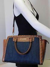 Michael Kors Selma Denim Blue & Brown Studded Large Shoulder Bag Handbag Purse