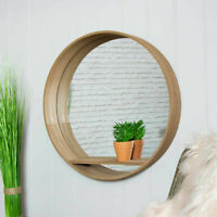 Wooden Mirrored Shelf 50cm Display Storage Unit Wall Mounted Home Decor