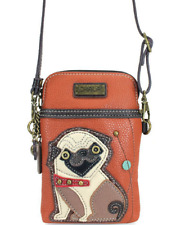 NEW CHALA PUG DOG PUPPY CELL PHONE CROSSBODY PURSE ADJUSTABLE STRAP TAN ORANGE