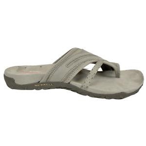 Merrell Womens 8 9 10 Terran Post II Slip On Leather Walking Sandals Brown