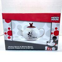 Disney Mickey Mouse & Minnie Ceramic Teapot Mickey Ears 44oz Vandor #89008 - NEW