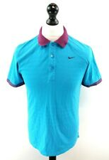 NIKE GOLF Mens Polo Shirt S Small Blue Cotton & Polyester Dri-Fit