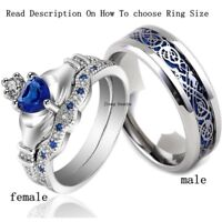 2 Rings Couple Rings Stainless Steel Men Ring Sapphire Claddagh CZ Women's Ring