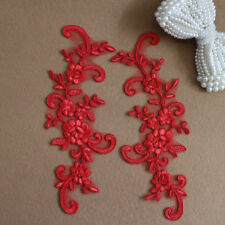 B222 2pc,Red Dress Appliques Lace Fabric Sewing Craft Embellishments Trims DIY