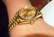 ROLEX LADIES 18 KT ALL GOLD & DIAMOND FACE 73.6 GRAMS-DATE  & BOX