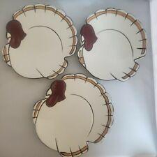 Set of 3 Pottery Barn Turkey Gobble Appetizer/Dessert Plates Thanksgiving EUC