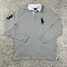 Vintage POLO Ralph Lauren Men's Gray Quilted Captains Pony LS Rugby Polo Shirt
