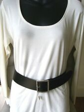 NEW Ladies Size SMALL Black Leather 5cm WIDE BELT with METAL BUCKLE RRP $65