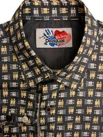 DESIGUAL Shirt Mens 15.5 M Grey - Gold & Silver Adam & Eve NEW