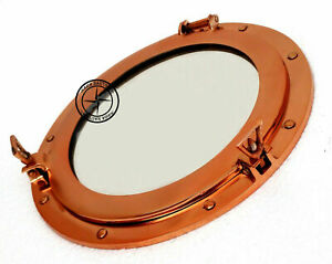 "15"" Copper Finish Brass Porthole Mirror~Nautical Ship Cabin Boat Window Porthole"