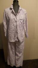 *Victoria Secret* Wmn's M/Short Pale Purple Snow Leopard 2 Pc Flannel Pajama Set