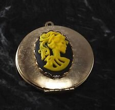 """LTV Creation""Locket Corpse Lady Skeleton Black Yellow Resin Cameo GoldTone"