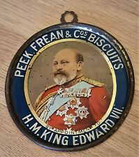 More details for rare c1902 'peek freans' lithographed small tin shop sign of king edward vii