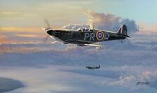 Philip West Battle of Britain print Top Cover signed by two RAF Spitfire pilots